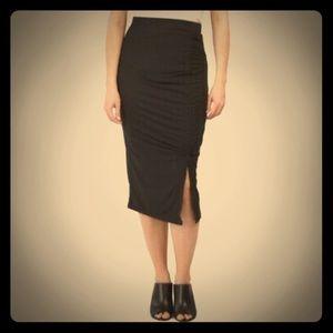NEW Pleione career side ruched soft midi skirt